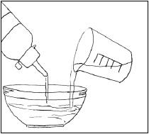 Kuva liiman ja veden sekoittamisesta