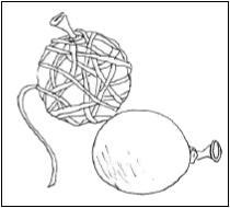 Kuva langan kierittämisestä pallon ympärille